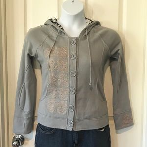 Lapis Gray Embroidered Hooded Jacket sz Small